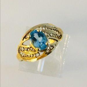 10k Filigree Blue Topaz ring